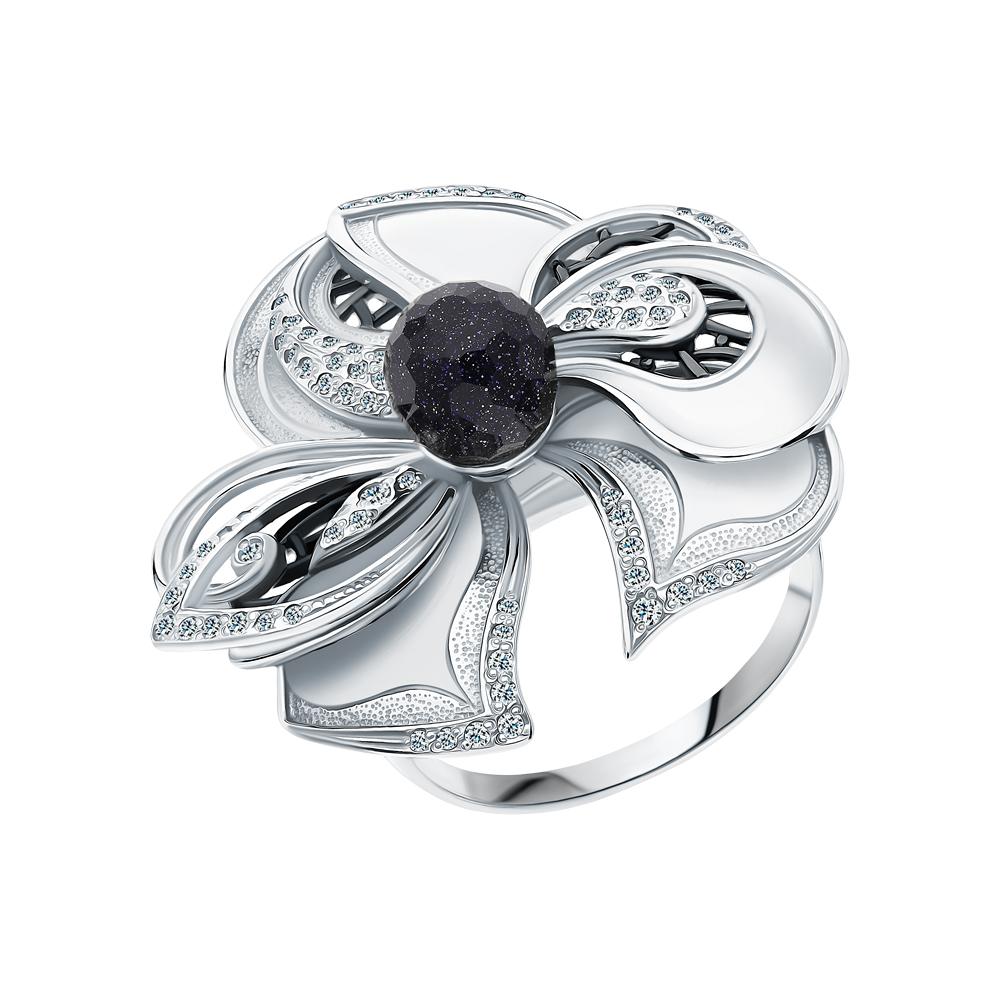 Серебряное кольцо с фианитами и авантюриновыми стёклами в Екатеринбурге