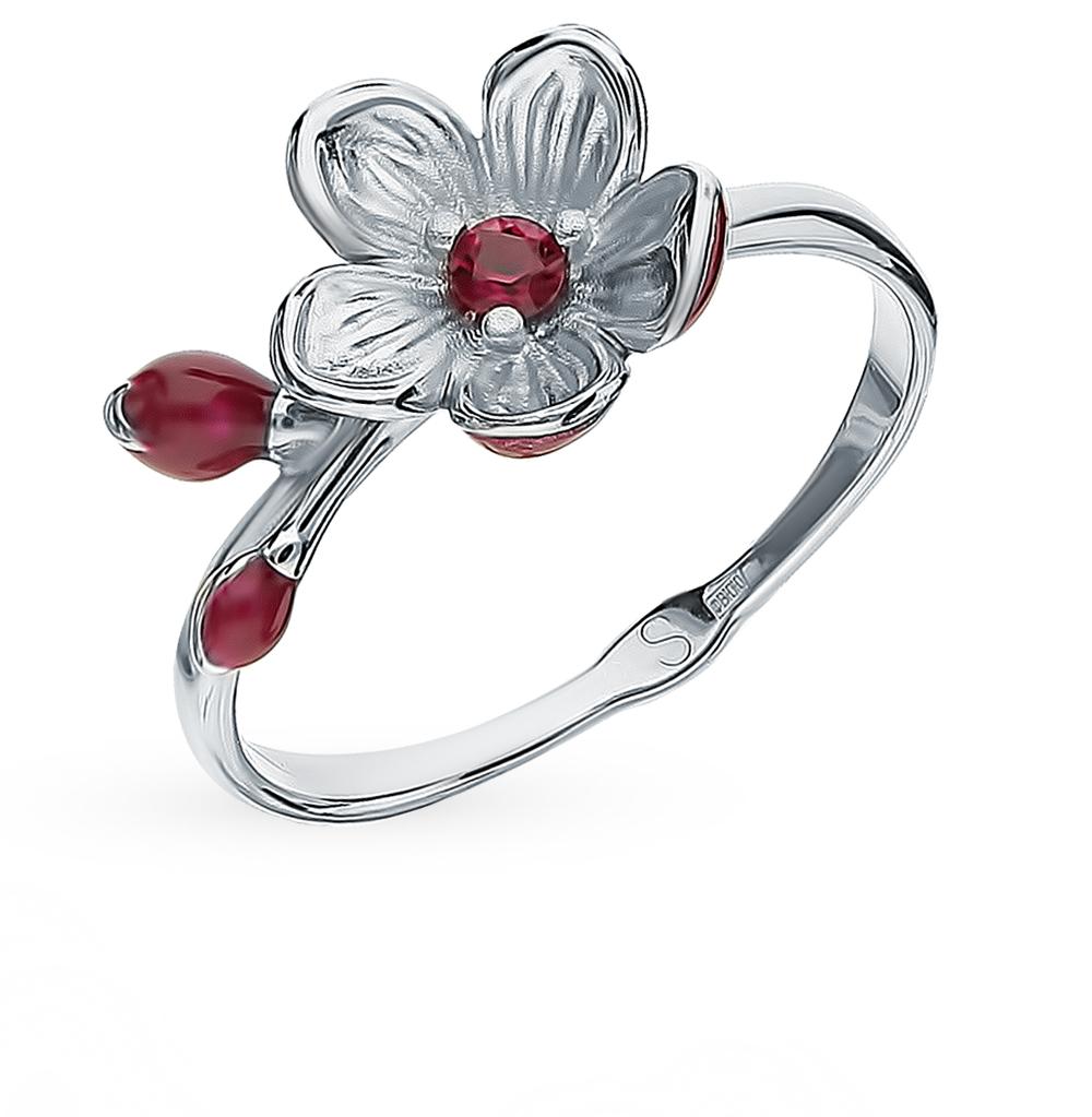 серебряное кольцо с корундом и эмалью SOKOLOV 94012952