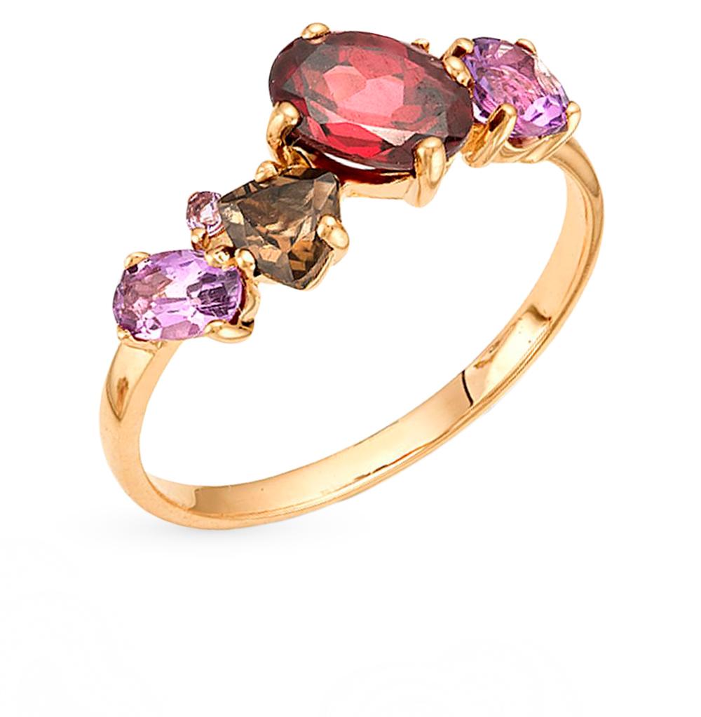 Фото «серебряное кольцо с аметистом, родолитами и раухтопазами (кварцами дымчатый)»