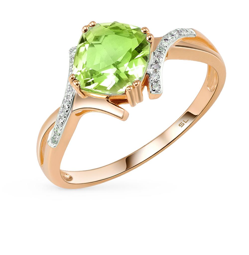 Фото «золотое кольцо с султанитами синтетическими и бриллиантами»