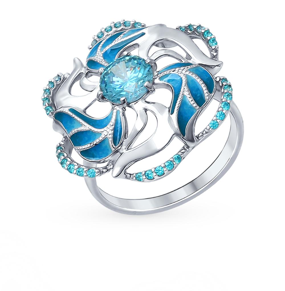 Фото «Серебряное кольцо с фианитами и эмалью SOKOLOV 94012328»