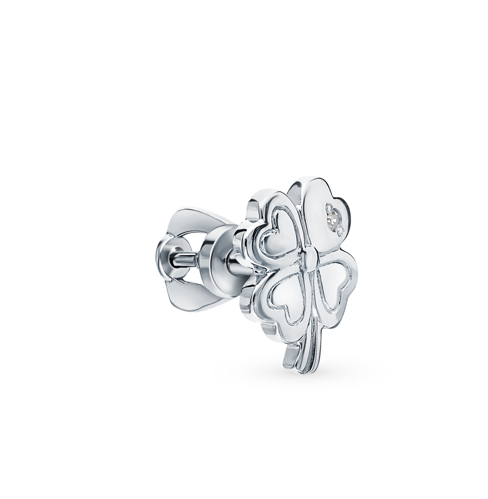 серебряная серьга с бриллиантами