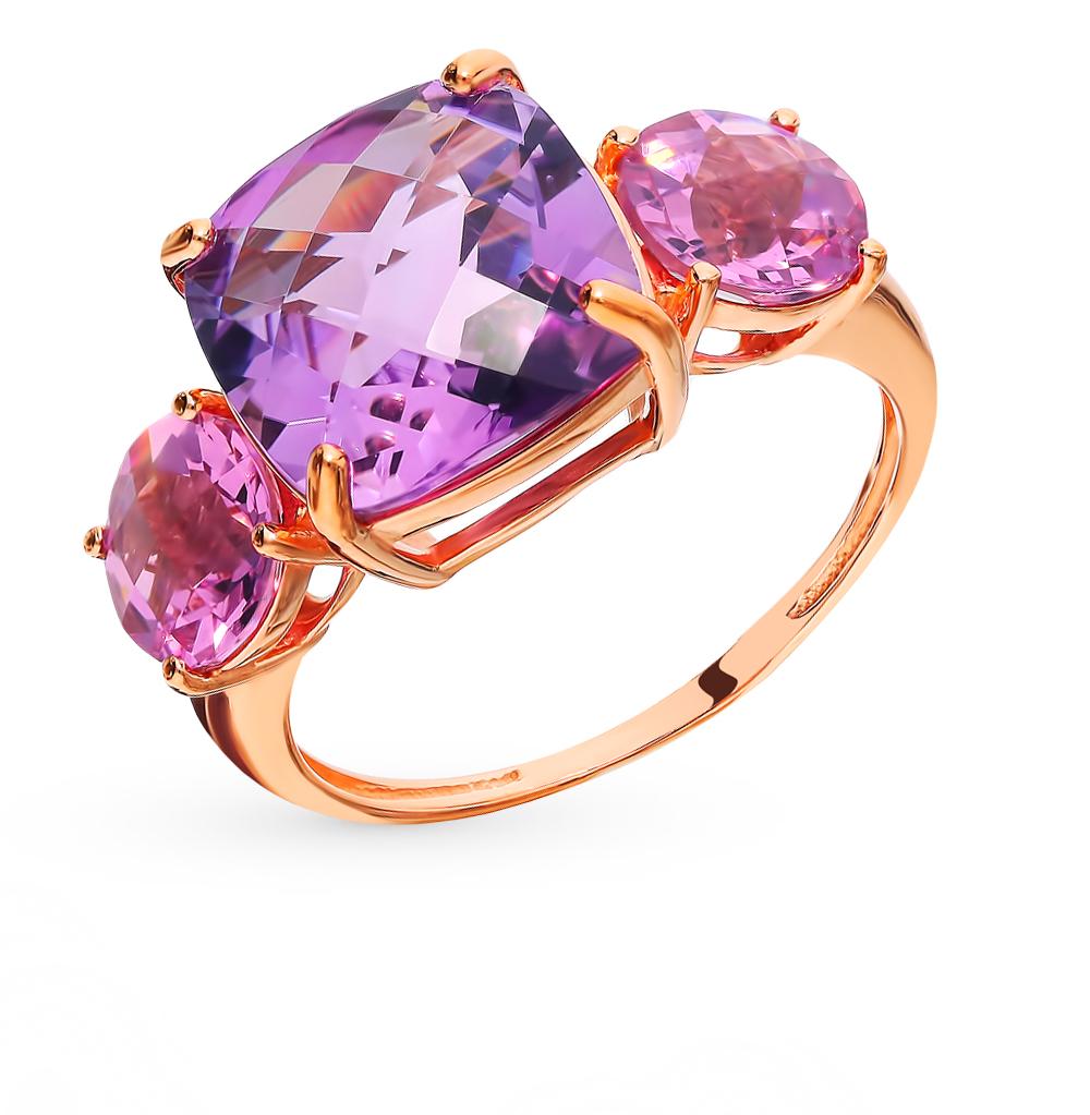 золотое кольцо с аметистом и кунцитами