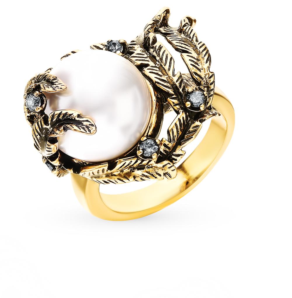 Фото «Стальное кольцо с фианитами и жемчугом»