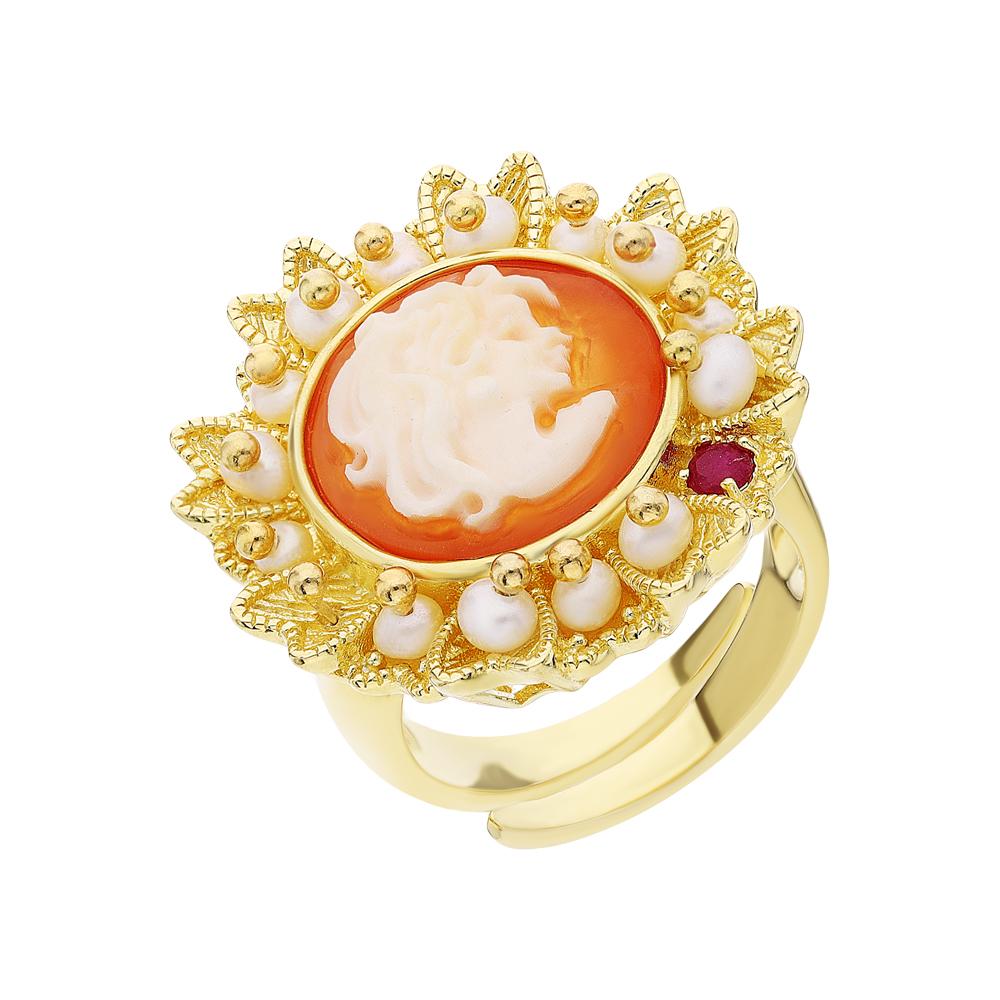 Серебряное кольцо с корундом, жемчугом и камеями в Екатеринбурге
