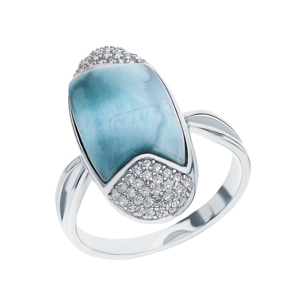 Фото «Серебряное кольцо с ларимаром и фианитами»