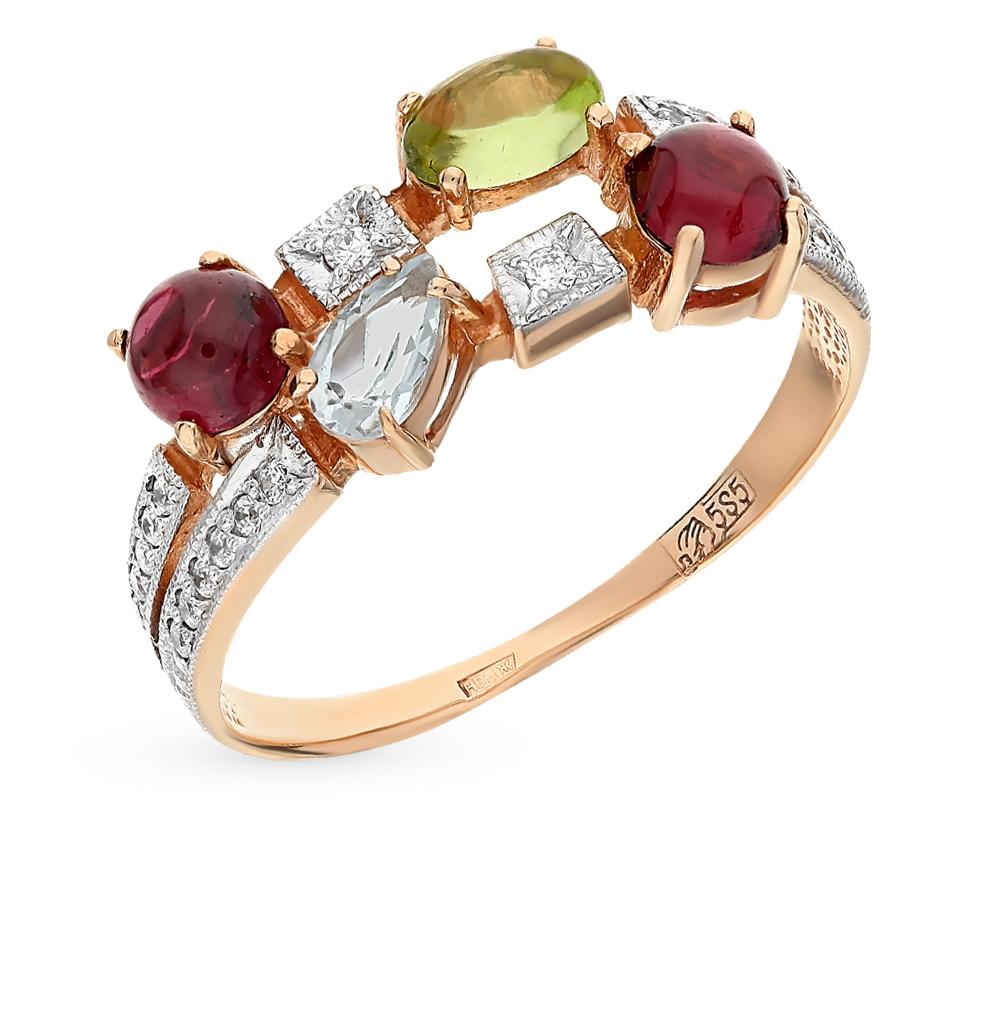 Фото «золотое кольцо с гранатом, топазами, фианитами и хризолитом»