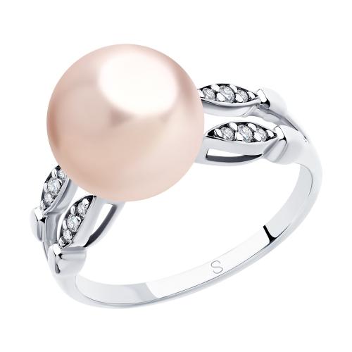 Серебряное кольцо с фианитами и жемчугом SOKOLOV 94012920 в Екатеринбурге