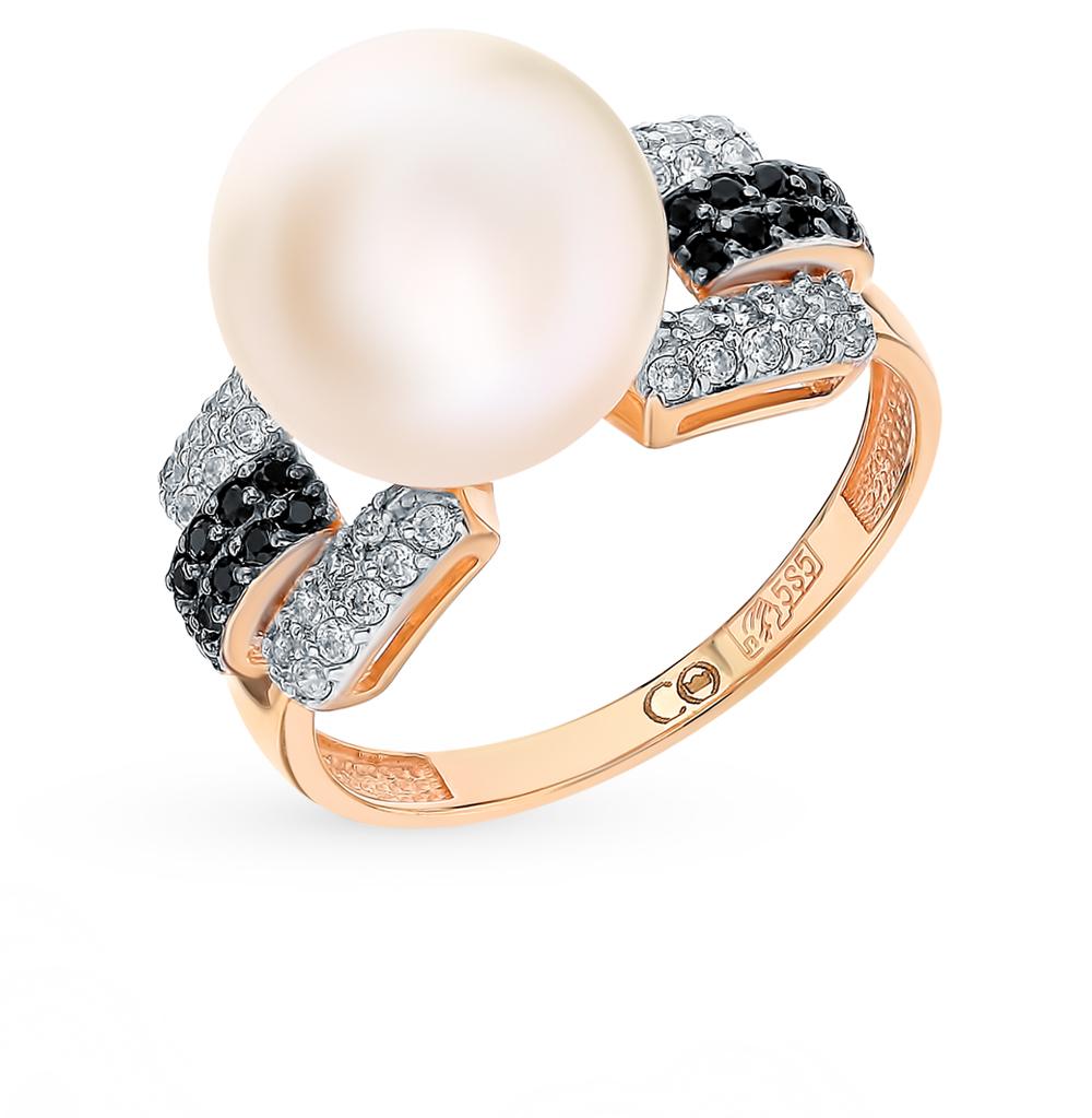 Золотое кольцо с фианитами и жемчугом в Санкт-Петербурге