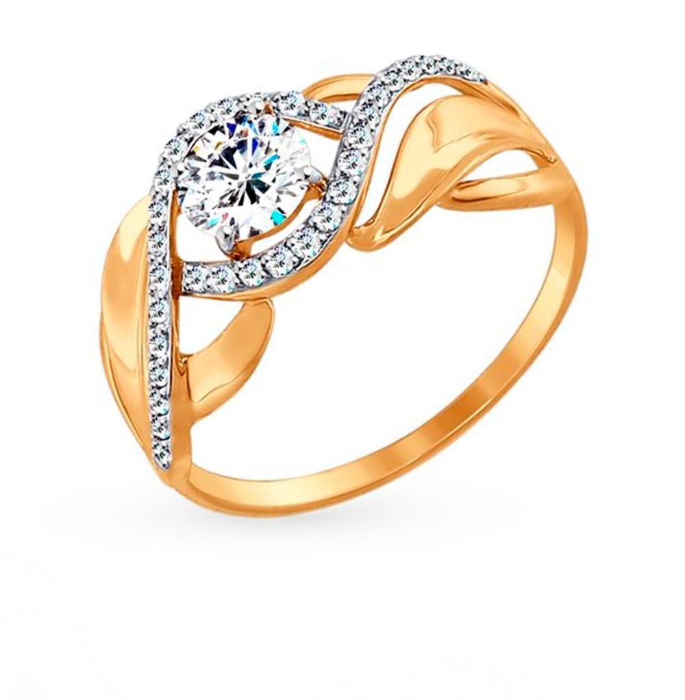 Фото «Золотое кольцо с фианитами SOKOLOV 017424»
