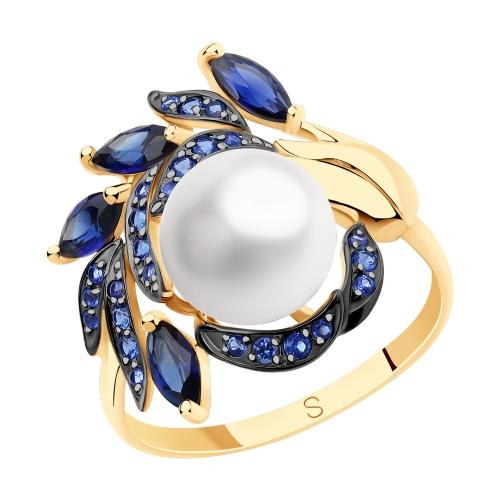 Золотое кольцо с корундом, фианитами и жемчугом SOKOLOV 791155* в Екатеринбурге