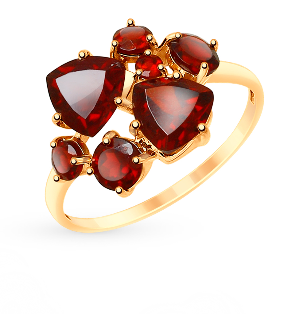 золотое кольцо с гранатом SOKOLOV 715159