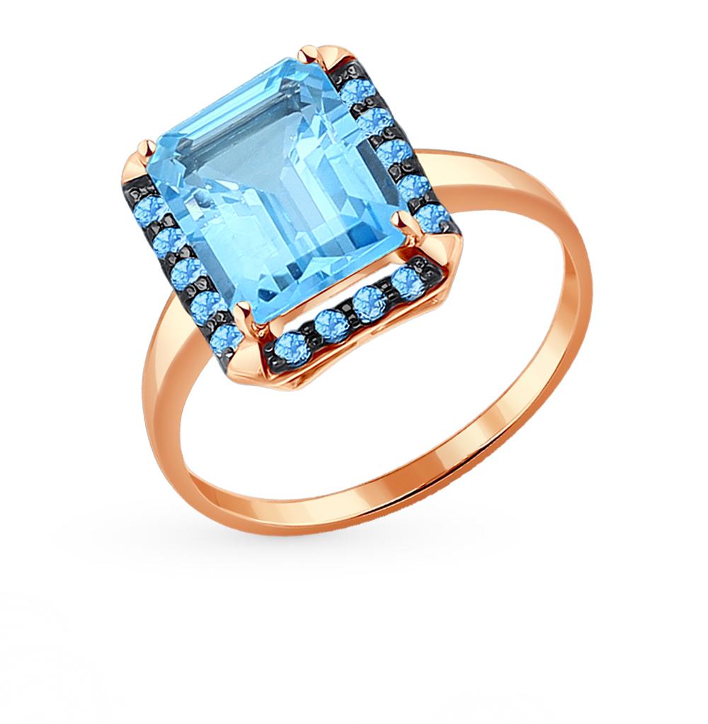 золотое кольцо с топазами и фианитами SOKOLOV 714060*