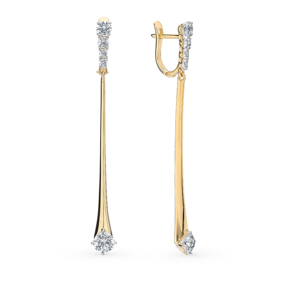 золотые серьги с фианитами SOKOLOV 026962-2*