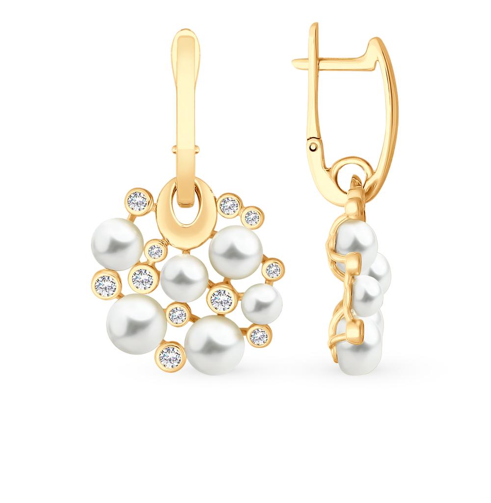 золотые серьги с фианитами и жемчугом SOKOLOV 792137*