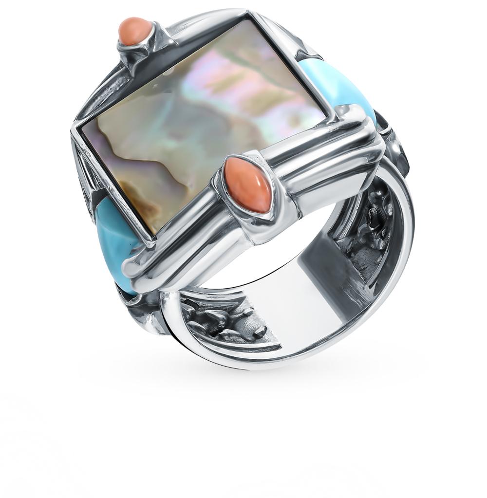 Фото «Серебряное кольцо с бирюзой, кораллом и перламутром»
