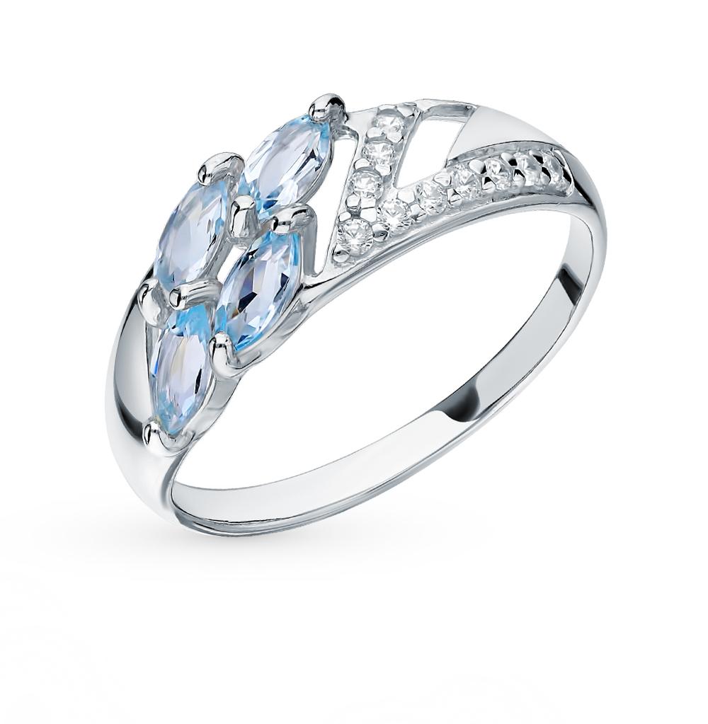 серебряное кольцо с топазами и фианитами SOKOLOV 92011641