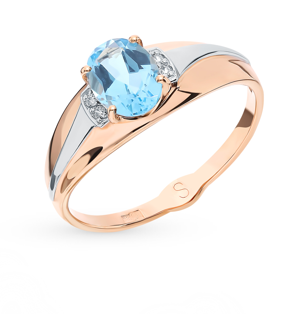 Золотое кольцо с топазом и фианитами SOKOLOV 715616*