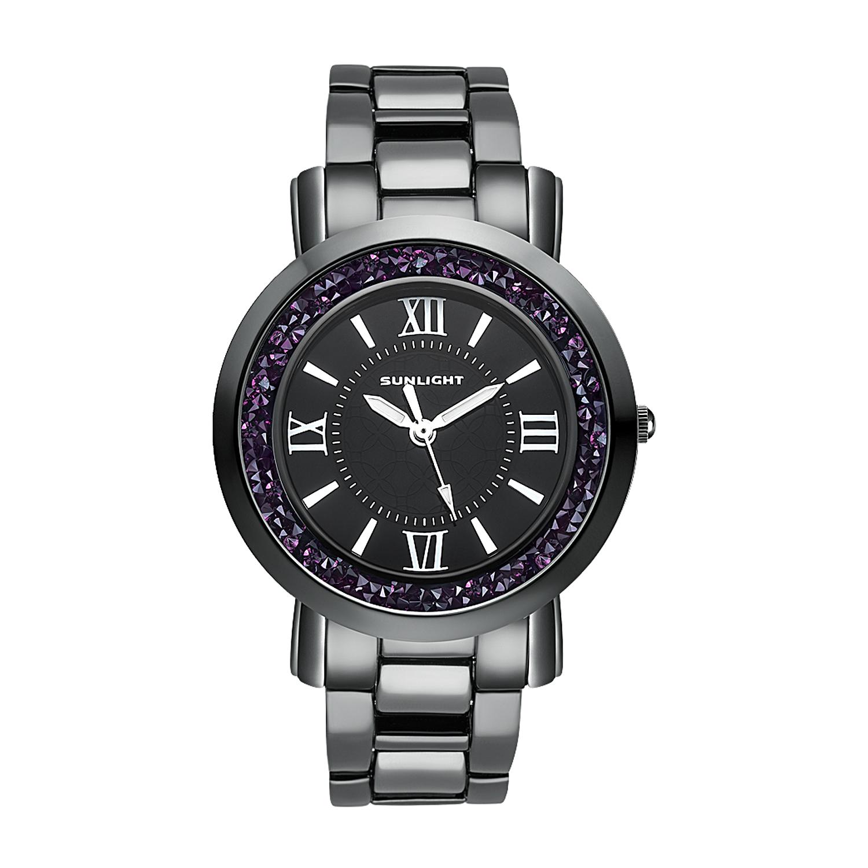 Фото «Женские часы с кристаллами на керамическом браслете»