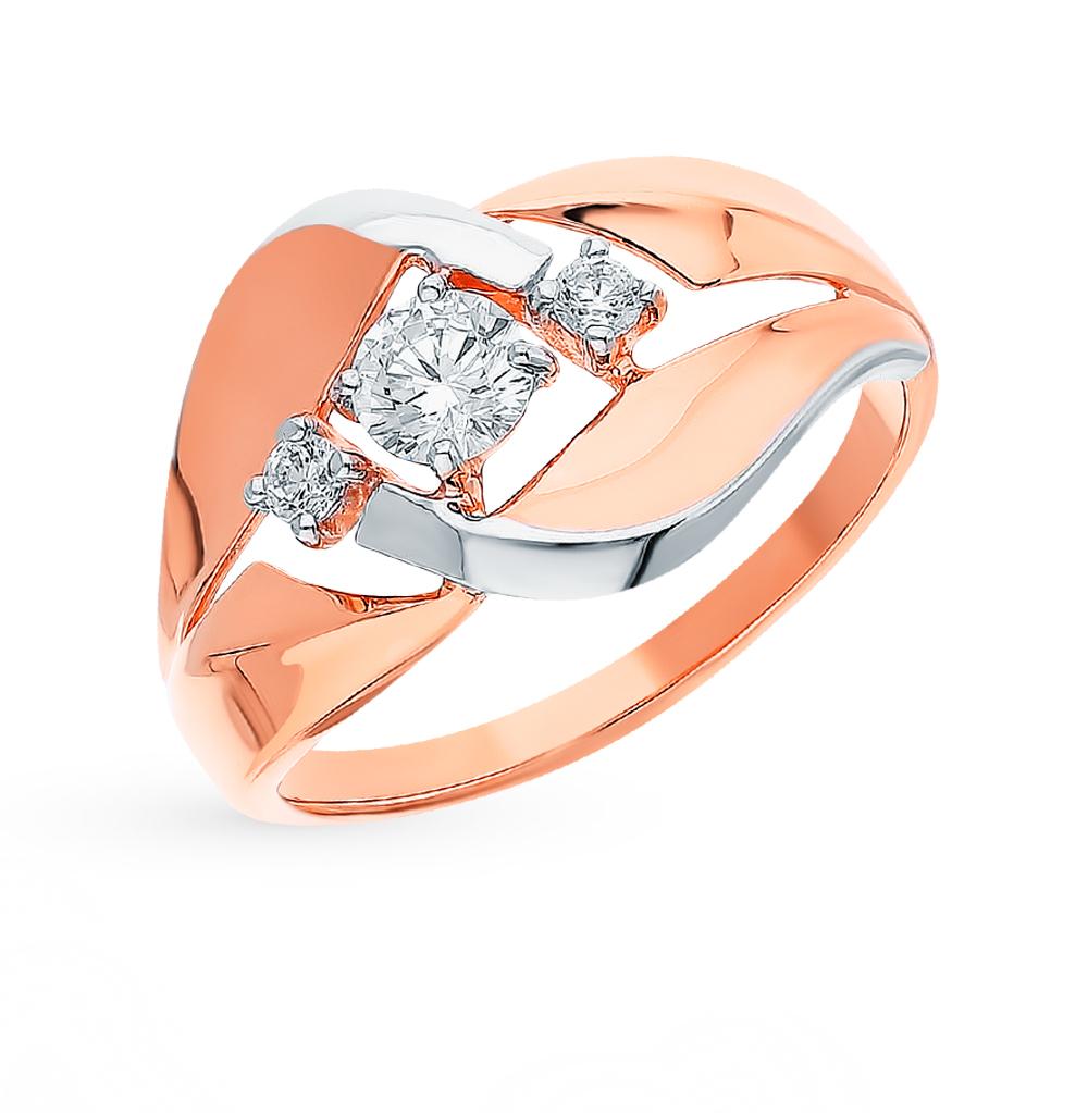 золотое кольцо с фианитами SOKOLOV 018438