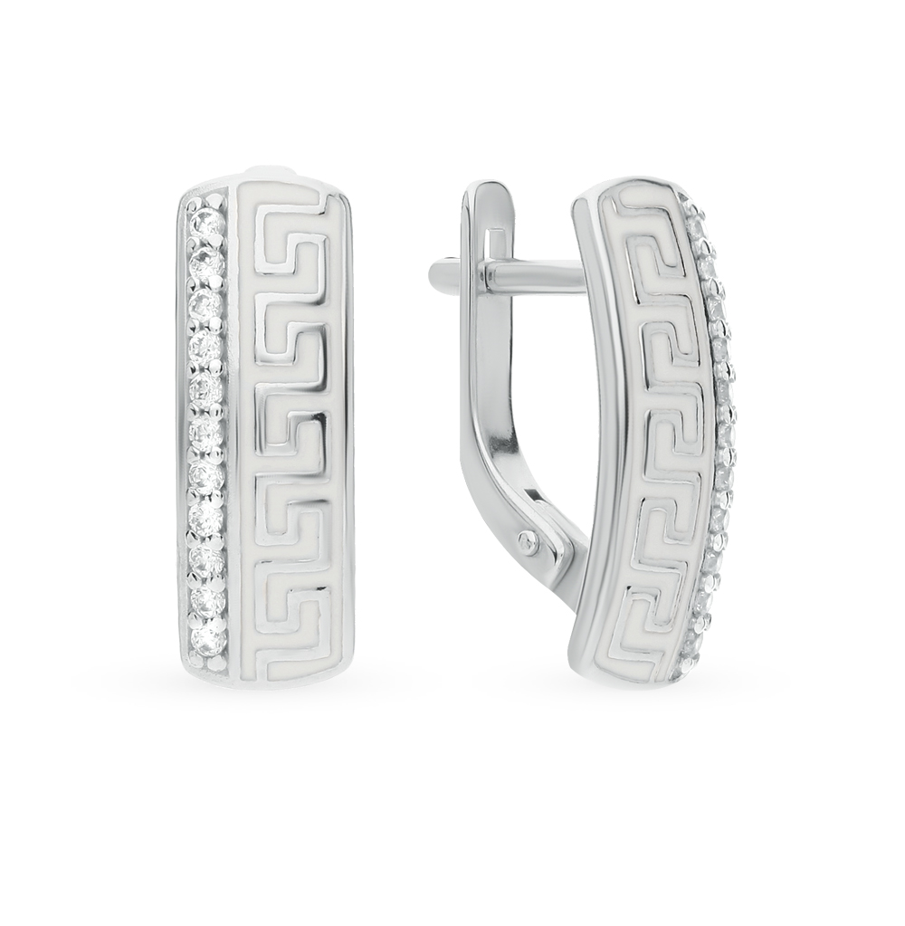 Фото «Серебряные серьги с фианитами и эмалью SOKOLOV 94021532»