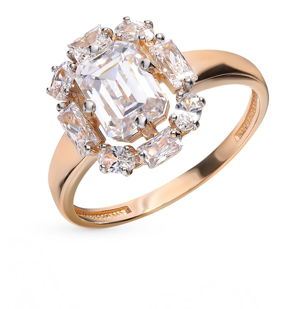 золотое кольцо с фианитами и фианитами swarovski