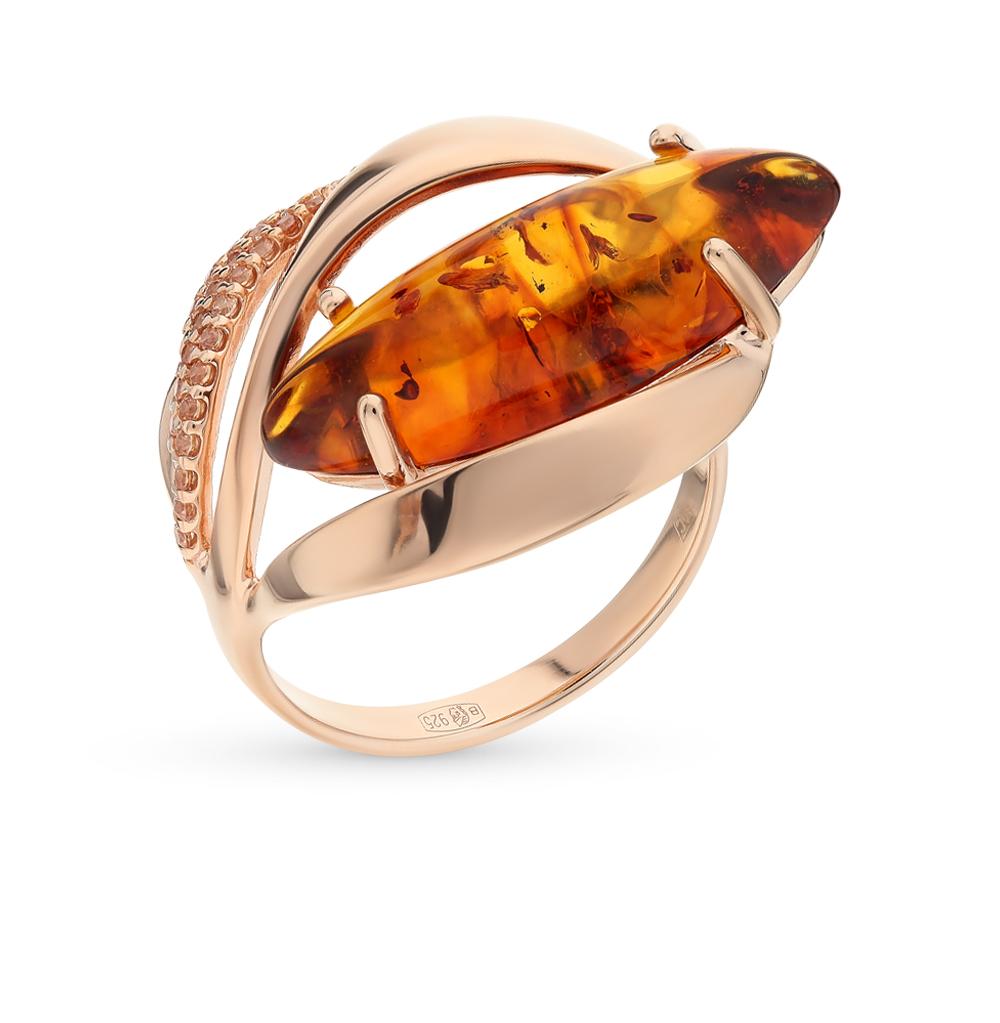 Серебряное кольцо с фианитами и янтарем SOKOLOV 83010031 в Екатеринбурге