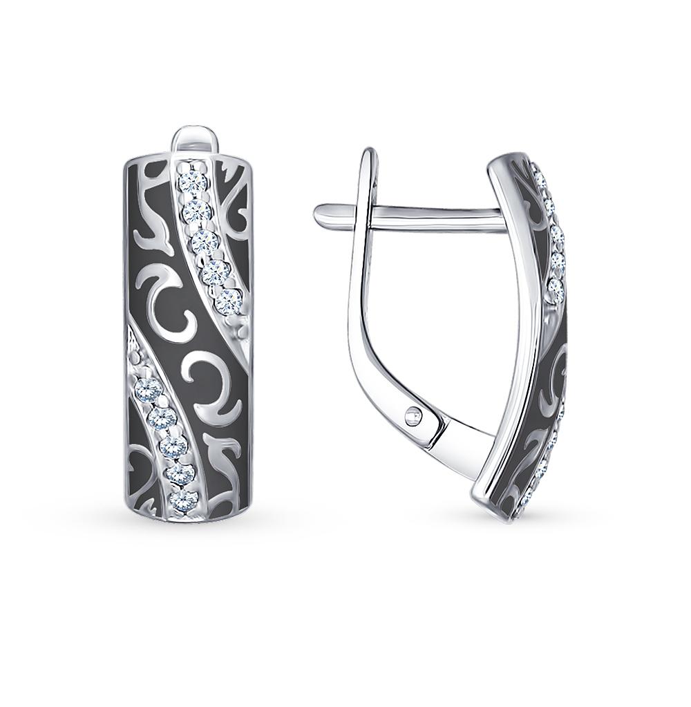 серебряные серьги с фианитами и эмалью SOKOLOV 94021529