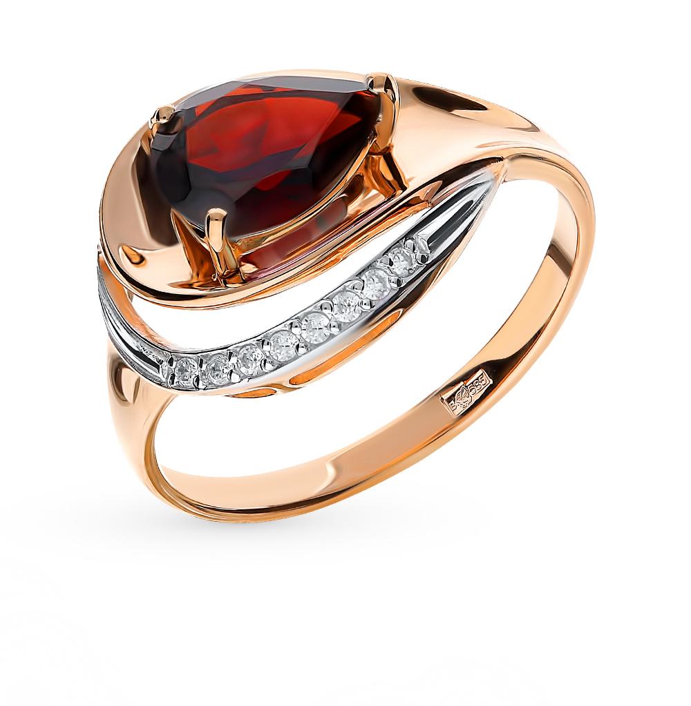 золотое кольцо с фианитами и гранатом SOKOLOV 715240*