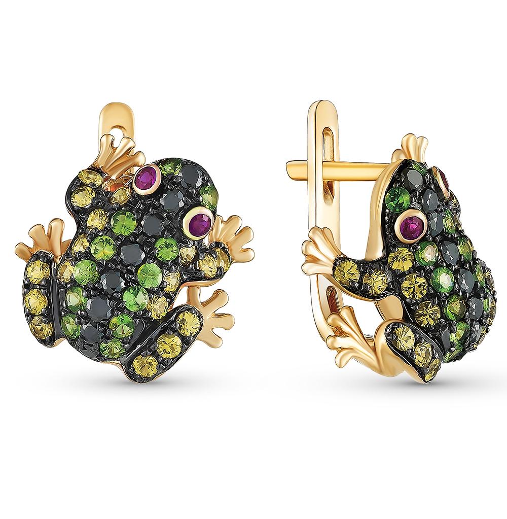 Фото «золотые серьги с гранатом, рубинами, сапфирами и бриллиантами»