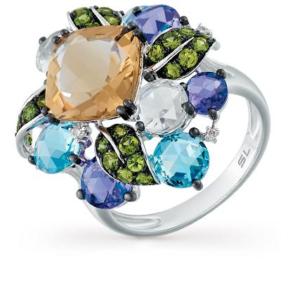Фото «золотое кольцо с аметистом, гранатом, кварцем, топазами и бриллиантами»