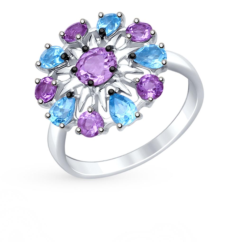Серебряное кольцо с аметистом, топазами и фианитами SOKOLOV 92011410 в Екатеринбурге