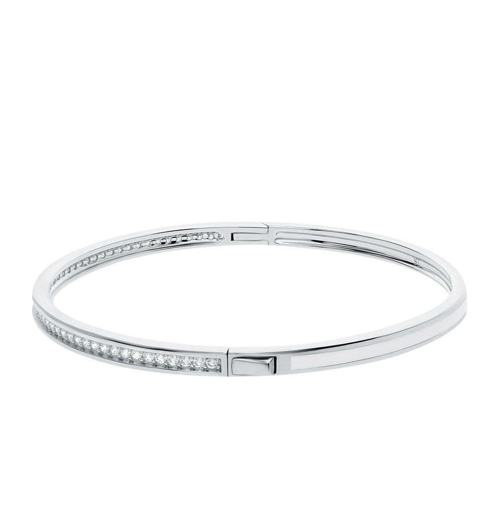 серебряный браслет с фианитами и эмалью