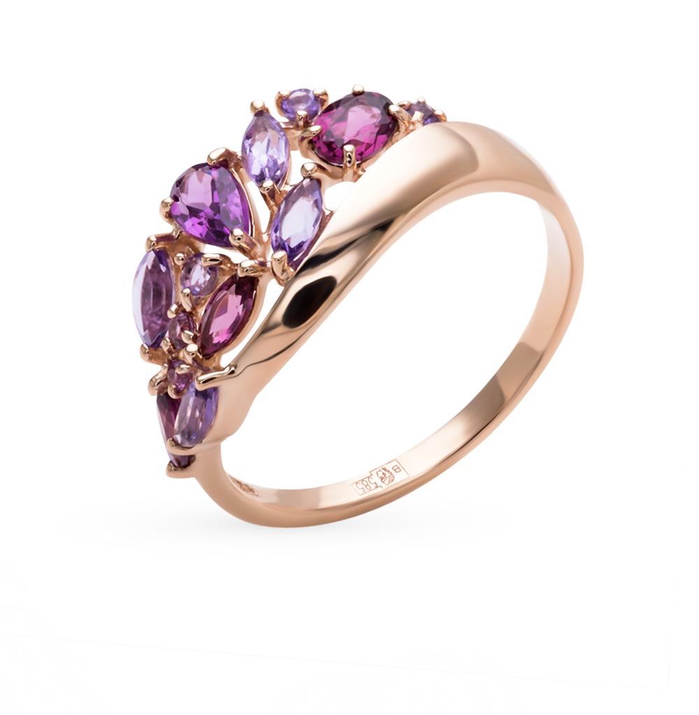 Фото «Золотое кольцо с родолитами и аметистом SOKOLOV 714393*»