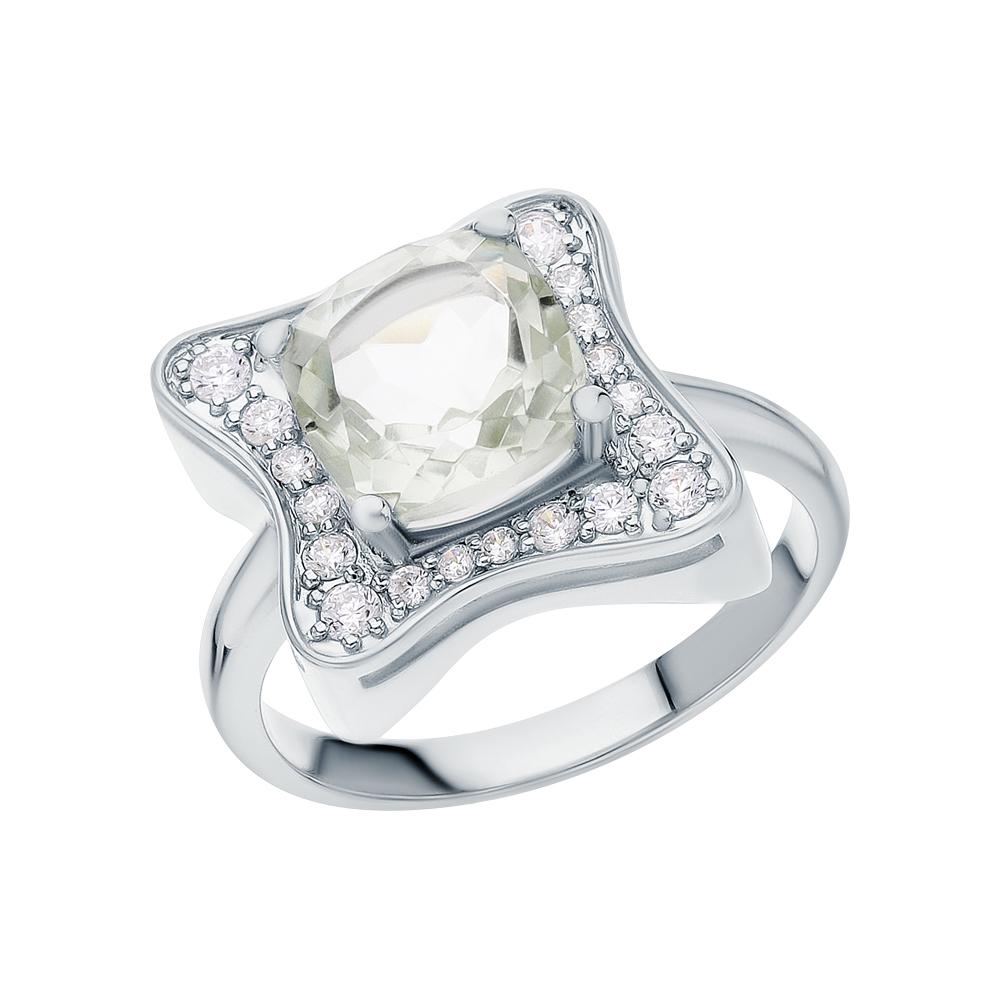 Фото «Серебряное кольцо с фианитами и аметистами зелёными»