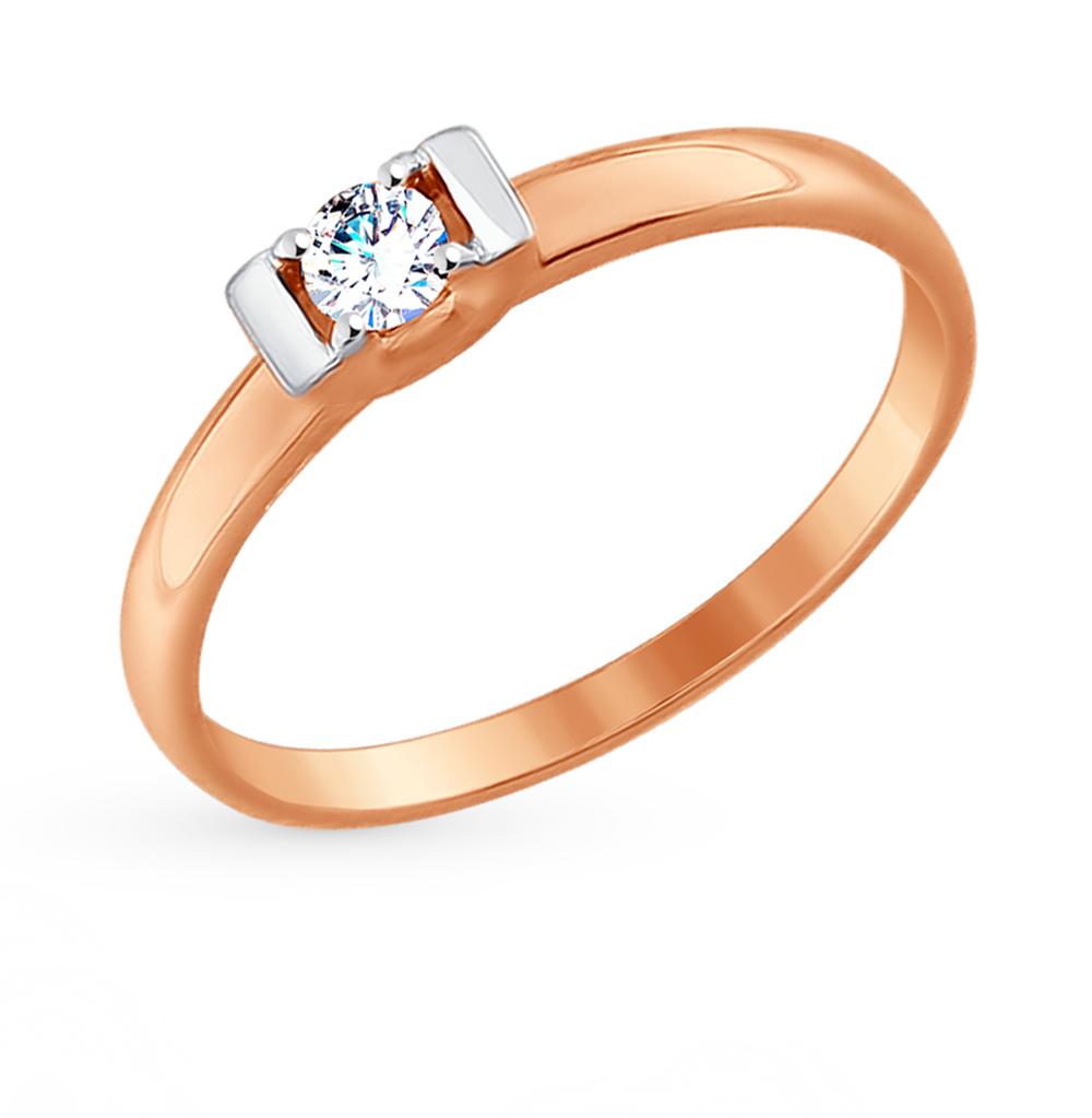 золотое кольцо с фианитами SOKOLOV 017465