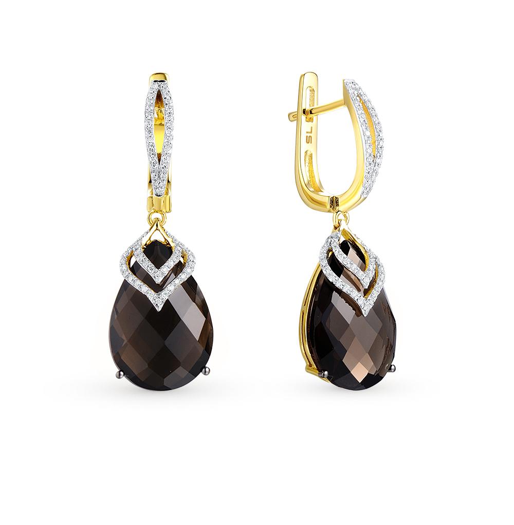 Золотые серьги с раухтопазами (кварцами дымчатый) и бриллиантами от SUNLIGHT