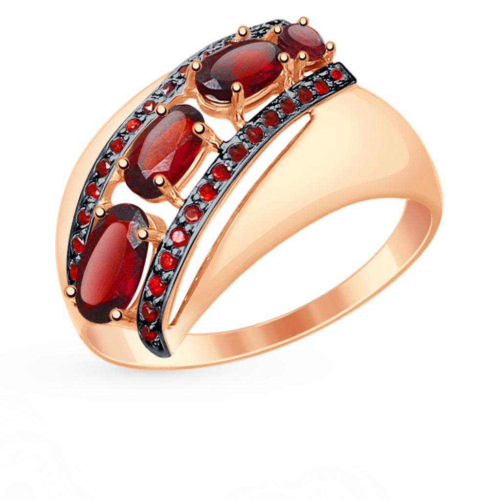 золотое кольцо с фианитами и гранатом SOKOLOV 714824*