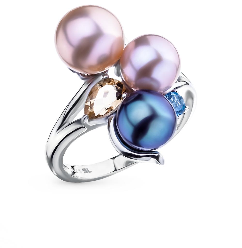 Фото «серебряное кольцо с цитринами, топазами и жемчугом»