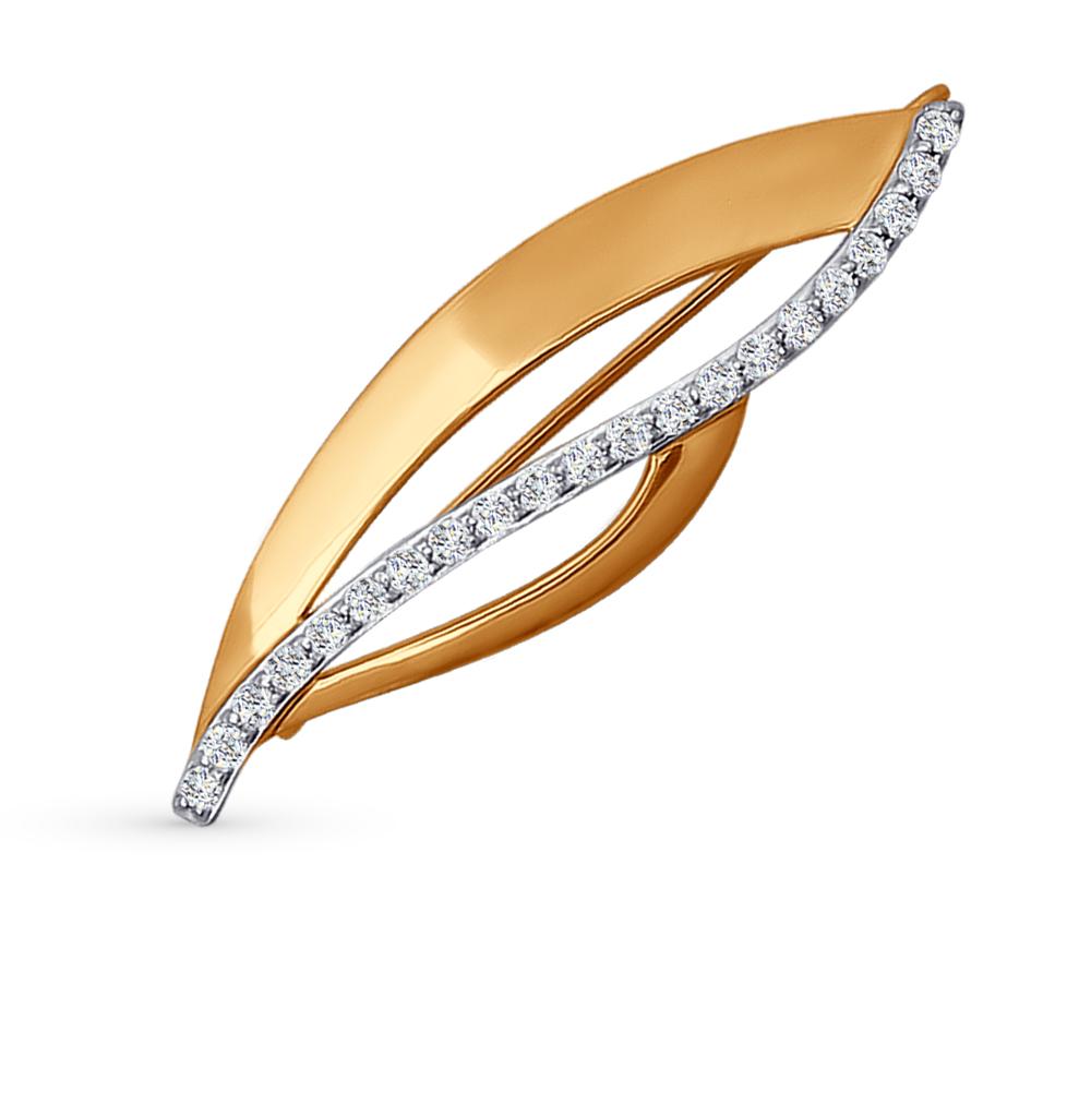 золотая брошь с фианитами SOKOLOV 040159*