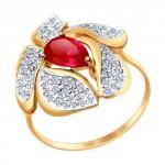 золотое кольцо с корундом и фианитами SOKOLOV 714710