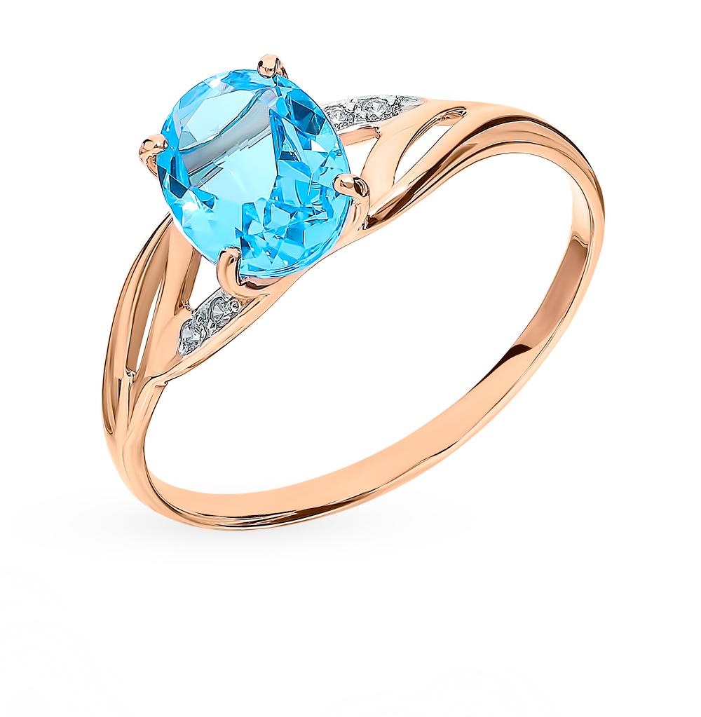 Фото «Золотое кольцо с топазами и фианитами SOKOLOV 715945*»