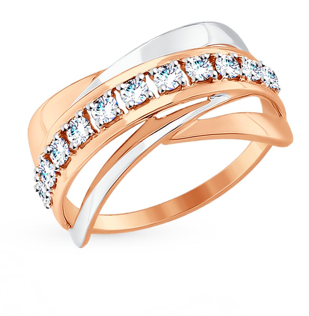 золотое кольцо с фианитами SOKOLOV 017551