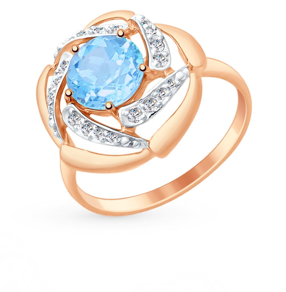 золотое кольцо с топазами и фианитами SOKOLOV 714874*