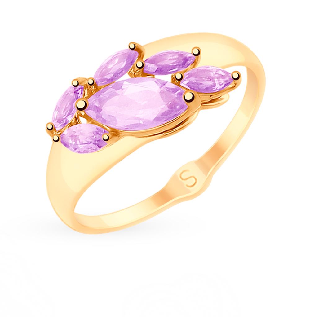 золотое кольцо с аметистом SOKOLOV 715200*