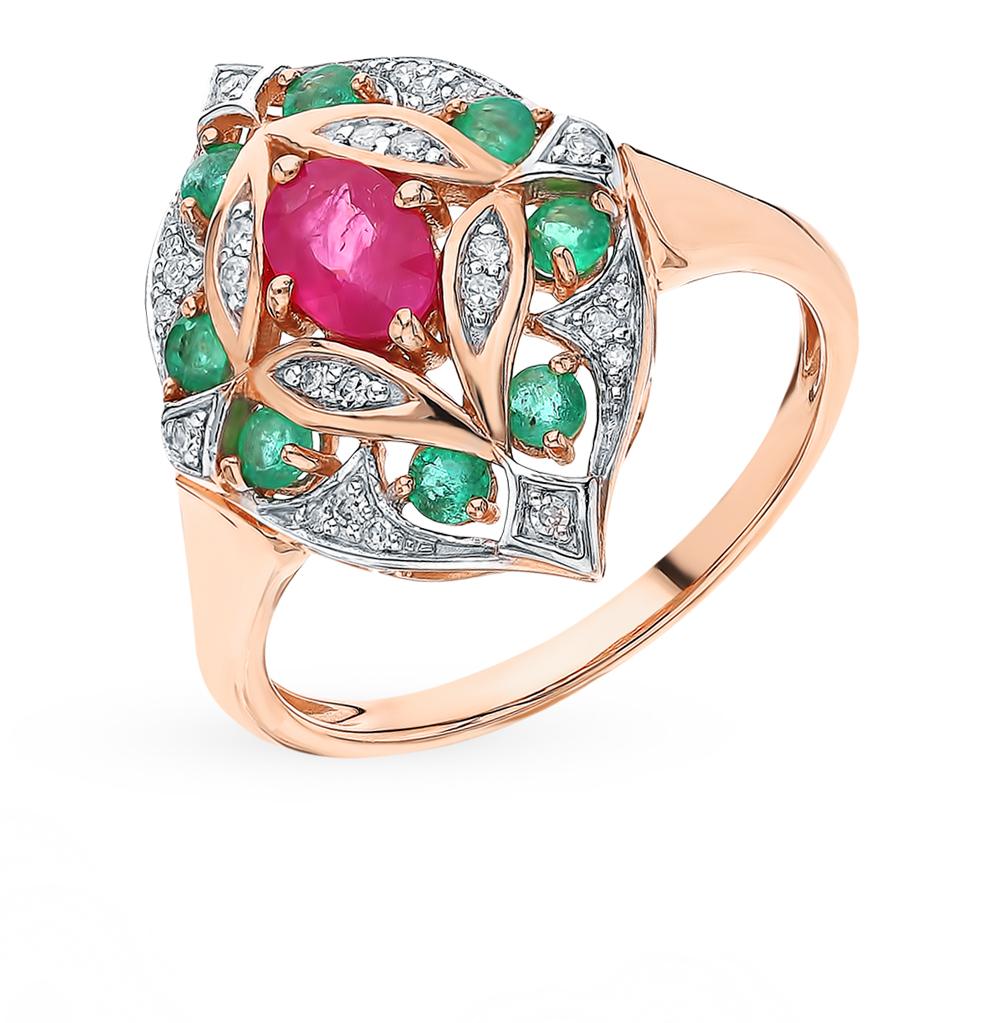 Золотое кольцо с рубинами, изумрудами и бриллиантами в Екатеринбурге