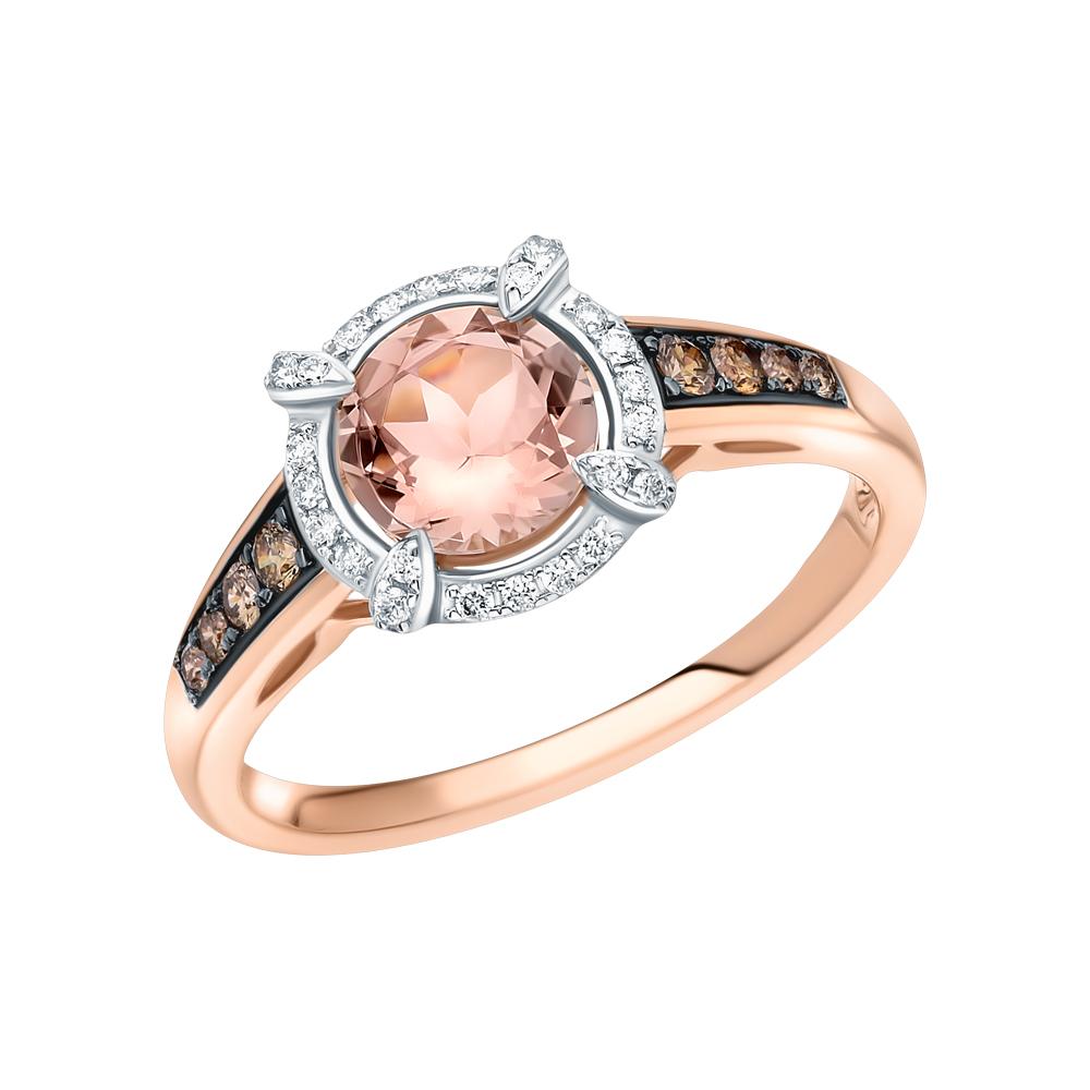 Золотое кольцо с коньячными бриллиантами, морганитом в Екатеринбурге