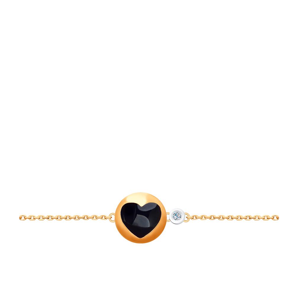 Золотой браслет с бриллиантом SOKOLOV 1050100