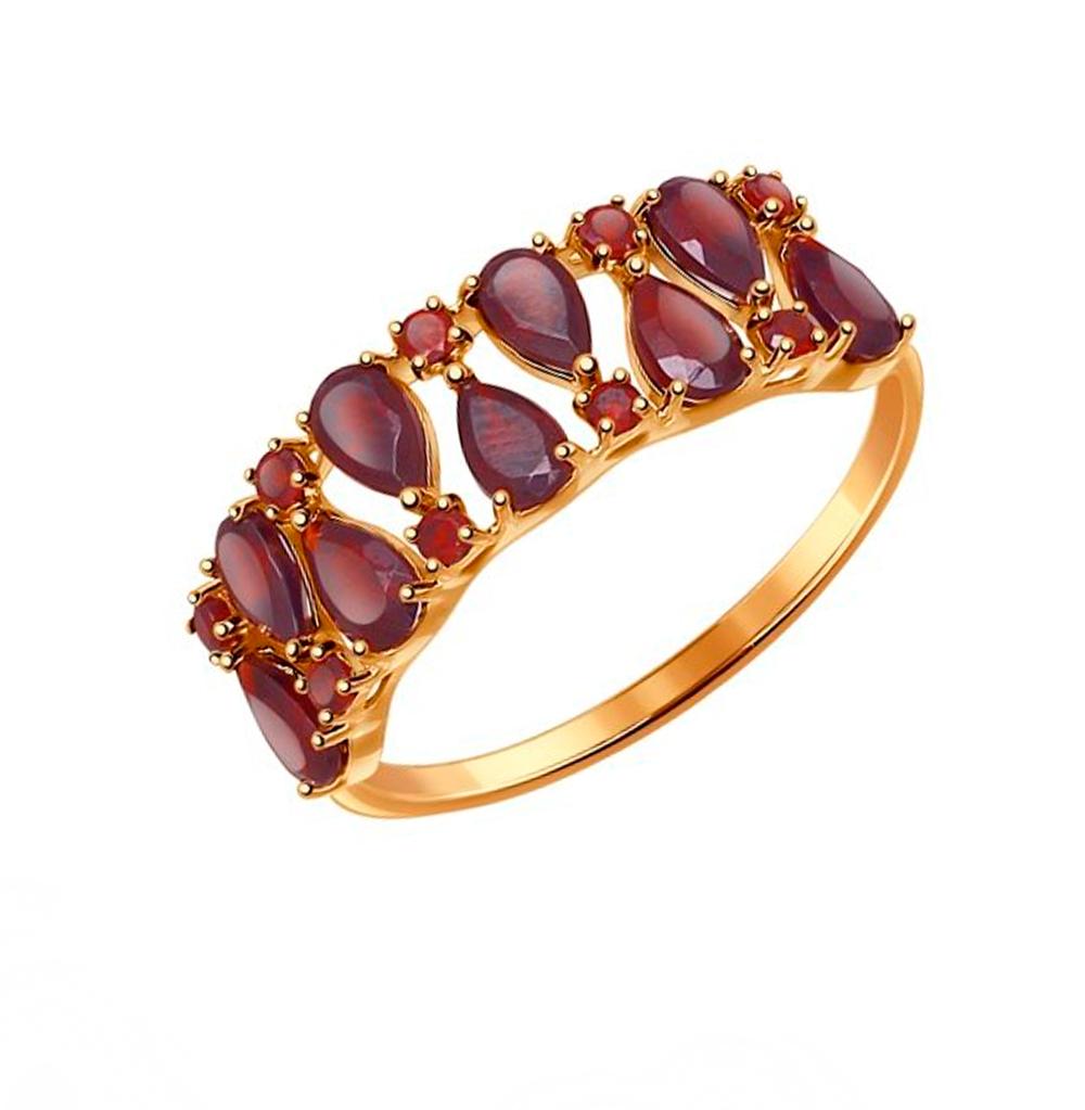 золотое кольцо с гранатом SOKOLOV 714434*