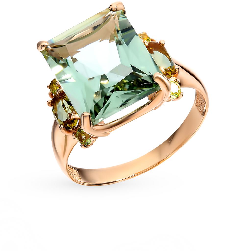 Золотое кольцо с султанитами, хризолитом и аметистом в Екатеринбурге